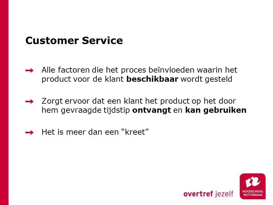 Customer Service Alle factoren die het proces beïnvloeden waarin het product voor de klant beschikbaar wordt gesteld Zorgt ervoor dat een klant het product op het door hem gevraagde tijdstip ontvangt en kan gebruiken Het is meer dan een kreet