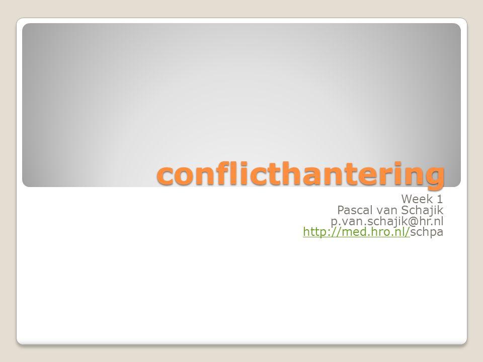 conflicthantering Week 1 Pascal van Schajik p.van.schajik@hr.nl http://med.hro.nl/http://med.hro.nl/schpa