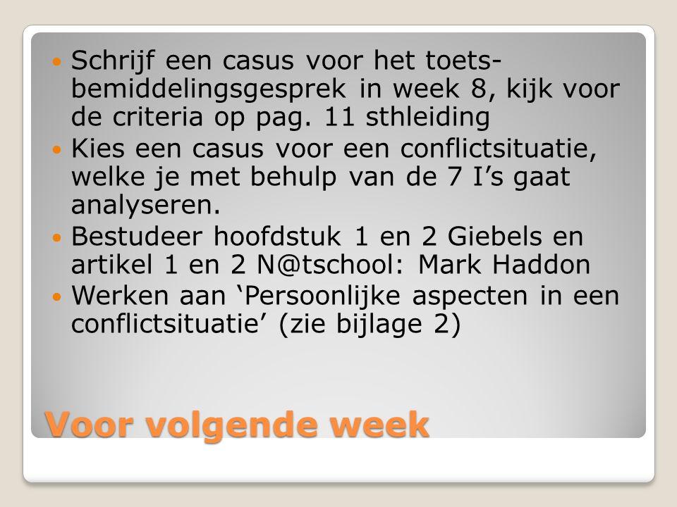 Voor volgende week Schrijf een casus voor het toets- bemiddelingsgesprek in week 8, kijk voor de criteria op pag. 11 sthleiding Kies een casus voor ee