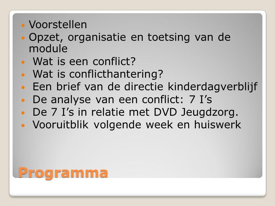 Programma Voorstellen Opzet, organisatie en toetsing van de module Wat is een conflict.