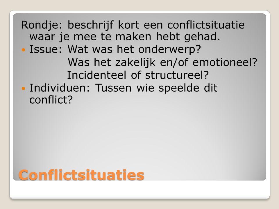 Conflictsituaties Rondje: beschrijf kort een conflictsituatie waar je mee te maken hebt gehad.