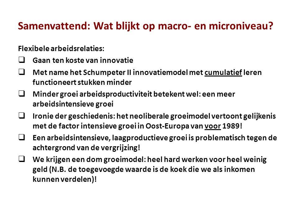 Samenvattend: Wat blijkt op macro- en microniveau? Flexibele arbeidsrelaties:  Gaan ten koste van innovatie  Met name het Schumpeter II innovatiemod