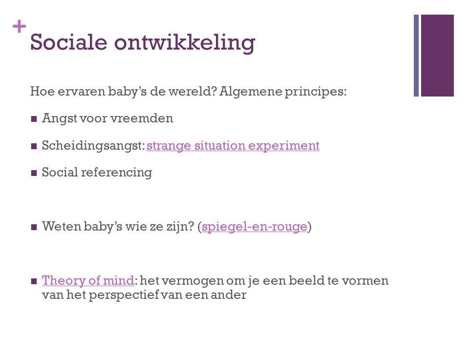 + Sociale ontwikkeling Hoe ervaren baby's de wereld.