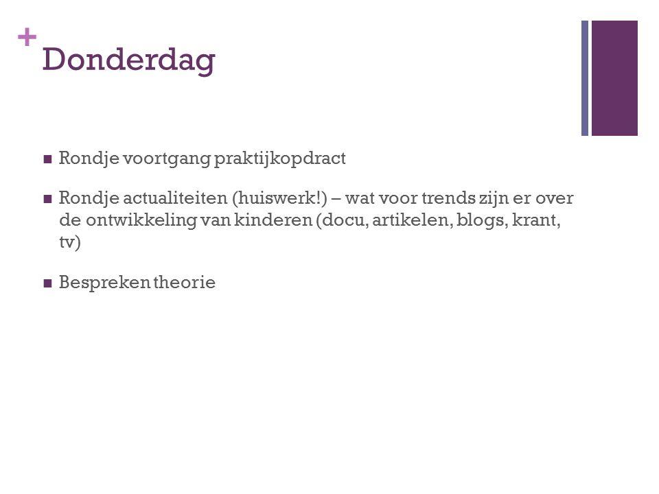 + Donderdag Rondje voortgang praktijkopdract Rondje actualiteiten (huiswerk!) – wat voor trends zijn er over de ontwikkeling van kinderen (docu, artik