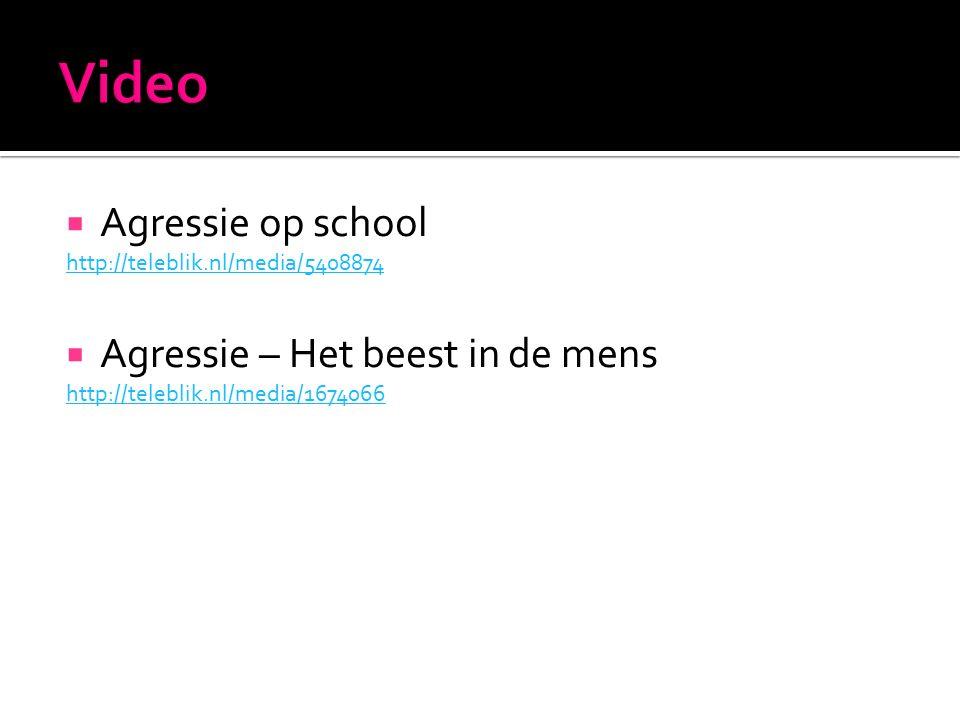  Agressie op school http://teleblik.nl/media/5408874  Agressie – Het beest in de mens http://teleblik.nl/media/1674066