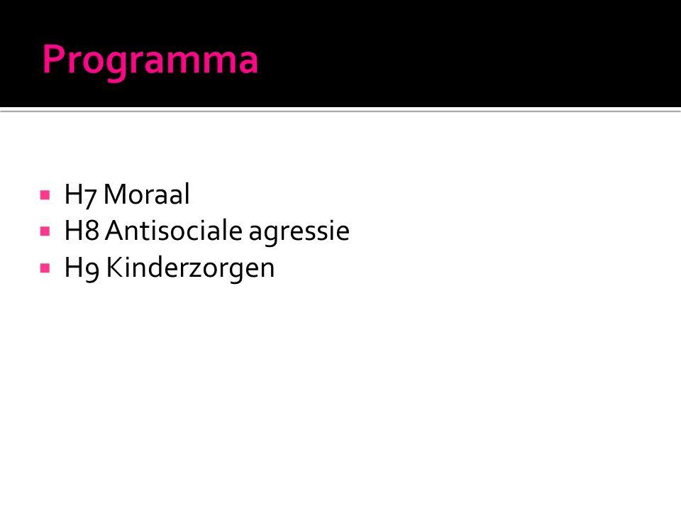  H7 Moraal  H8 Antisociale agressie  H9 Kinderzorgen