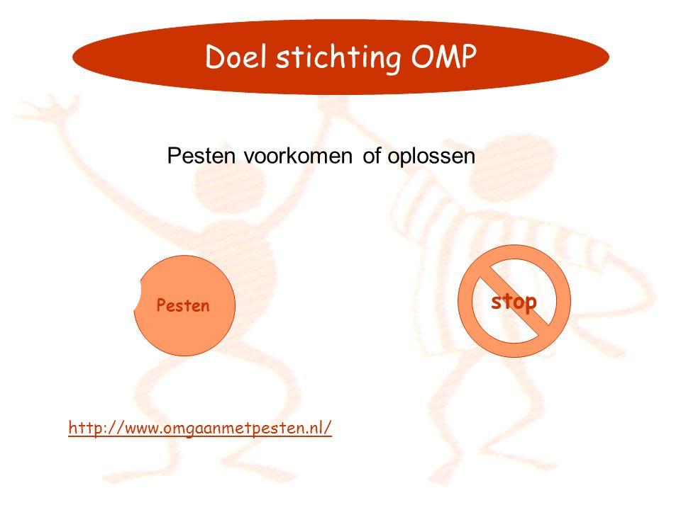 Doel stichting OMP Pesten voorkomen of oplossen Pesten stop http://www.omgaanmetpesten.nl/