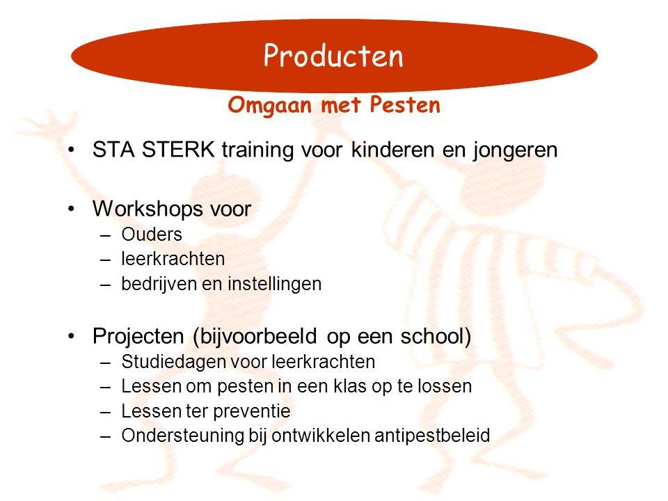 Producten STA STERK training voor kinderen en jongeren Workshops voor –Ouders –leerkrachten –bedrijven en instellingen Projecten (bijvoorbeeld op een