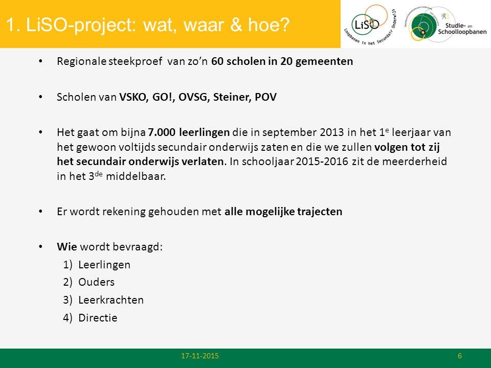 1. LiSO-project: wat, waar & hoe? 17-11-20156 Regionale steekproef van zo'n 60 scholen in 20 gemeenten Scholen van VSKO, GO!, OVSG, Steiner, POV Het g