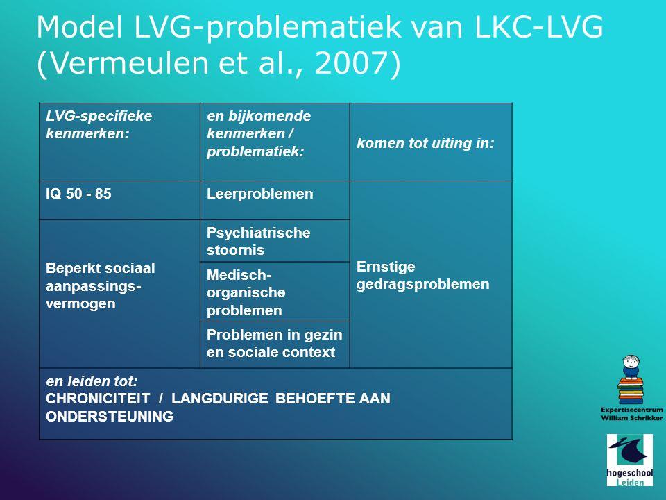 Model LVG-problematiek van LKC-LVG (Vermeulen et al., 2007) LVG-specifieke kenmerken: en bijkomende kenmerken / problematiek: komen tot uiting in: IQ 50 - 85Leerproblemen Ernstige gedragsproblemen Beperkt sociaal aanpassings- vermogen Psychiatrische stoornis Medisch- organische problemen Problemen in gezin en sociale context en leiden tot: CHRONICITEIT / LANGDURIGE BEHOEFTE AAN ONDERSTEUNING