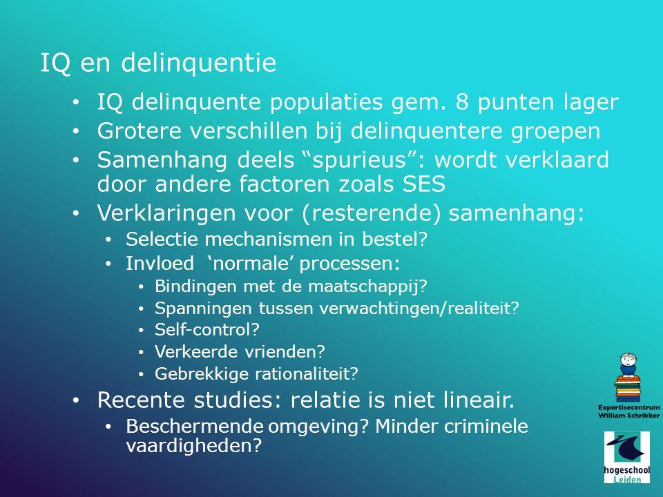 IQ en delinquentie IQ delinquente populaties gem.