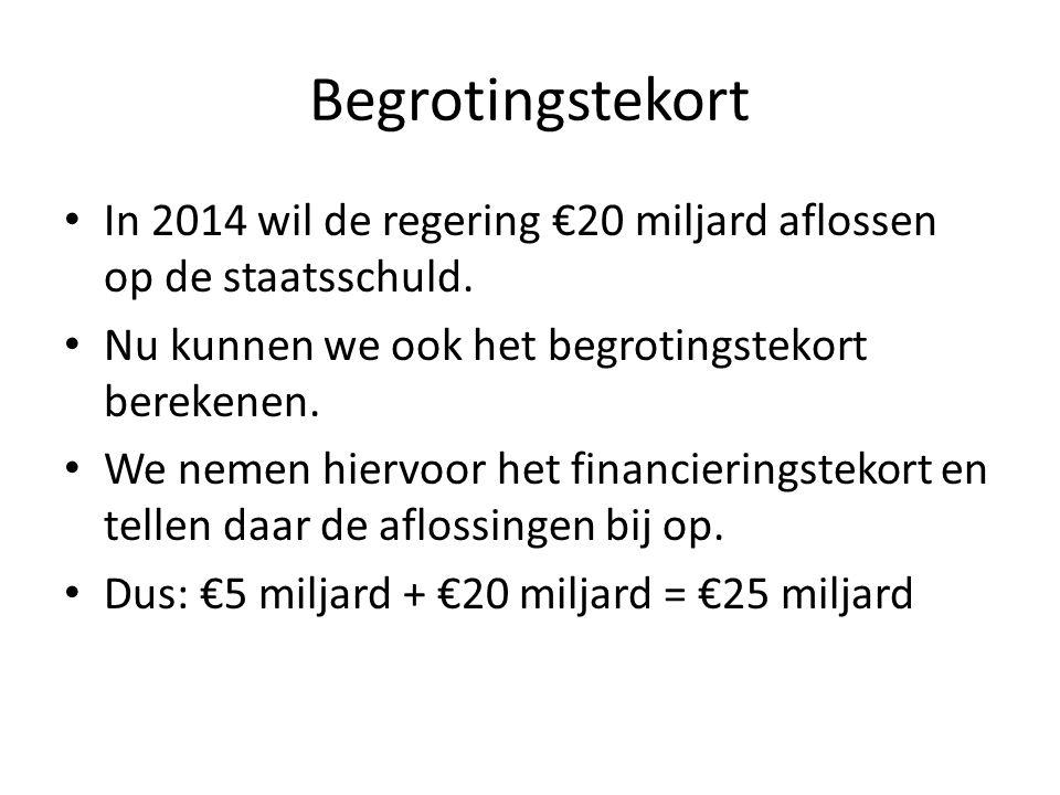 Begrotingstekort In 2014 wil de regering €20 miljard aflossen op de staatsschuld. Nu kunnen we ook het begrotingstekort berekenen. We nemen hiervoor h