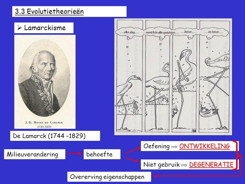 3.3 Evolutietheorieën  Lamarckisme De Lamarck (1744 –1829) Milieuveranderingbehoefte ONTWIKKELING Oefening  ONTWIKKELING DEGENERATIE Niet gebruik 