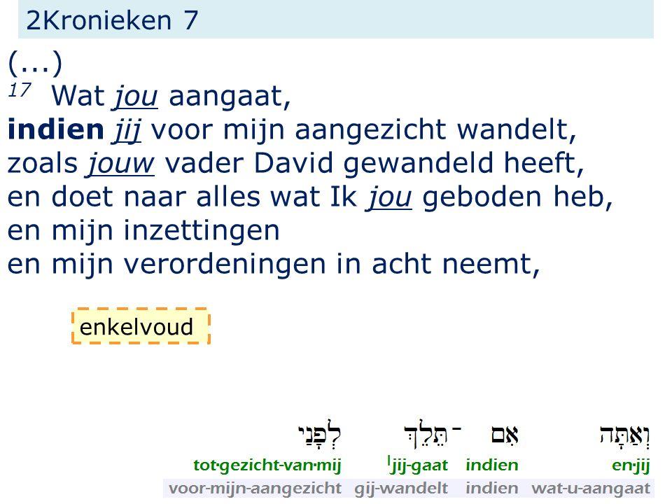 2Kronieken 7 (...) 17 Wat jou aangaat, indien jij voor mijn aangezicht wandelt, zoals jouw vader David gewandeld heeft, en doet naar alles wat Ik jou