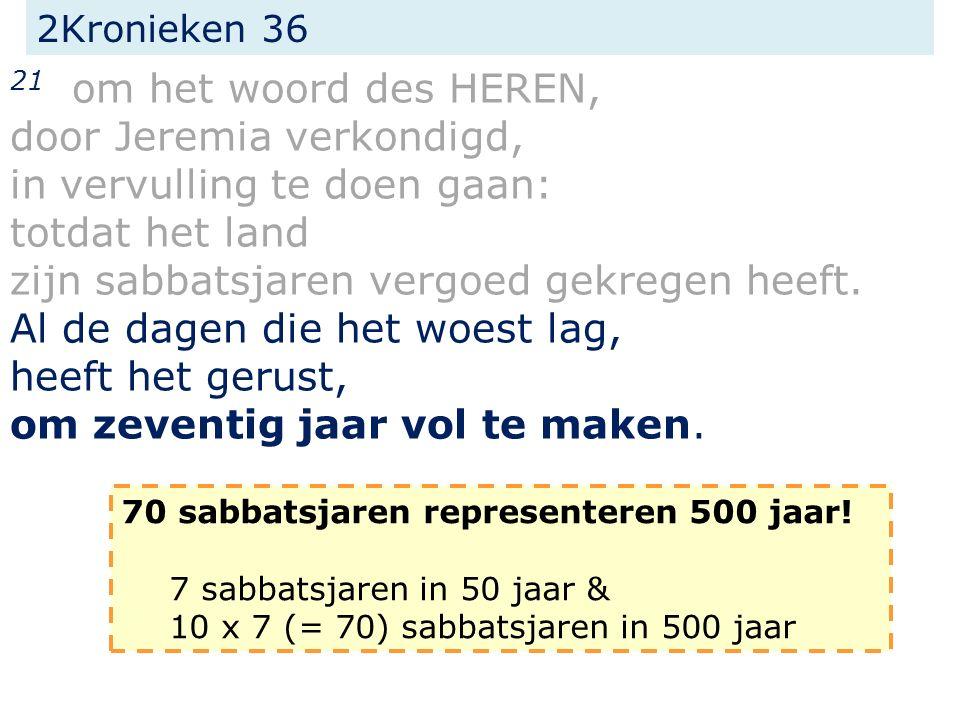 2Kronieken 36 21 om het woord des HEREN, door Jeremia verkondigd, in vervulling te doen gaan: totdat het land zijn sabbatsjaren vergoed gekregen heeft