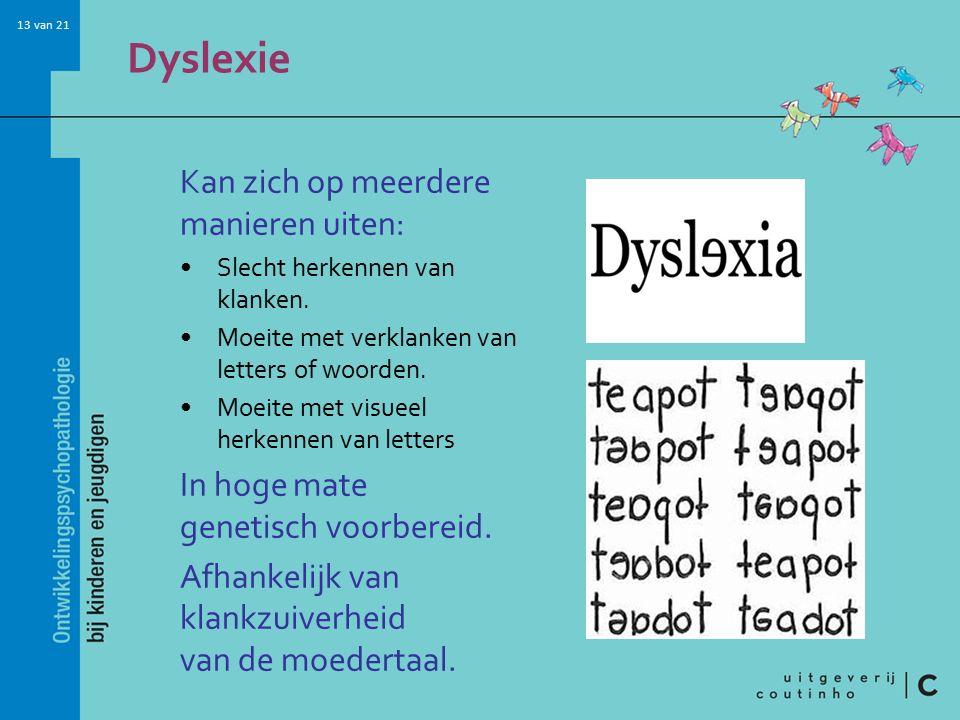 13 van 21 Dyslexie Kan zich op meerdere manieren uiten: Slecht herkennen van klanken. Moeite met verklanken van letters of woorden. Moeite met visueel