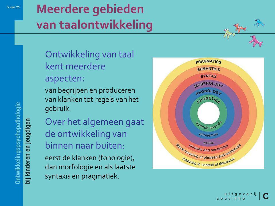 5 van 21 Meerdere gebieden van taalontwikkeling Ontwikkeling van taal kent meerdere aspecten: van begrijpen en produceren van klanken tot regels van h