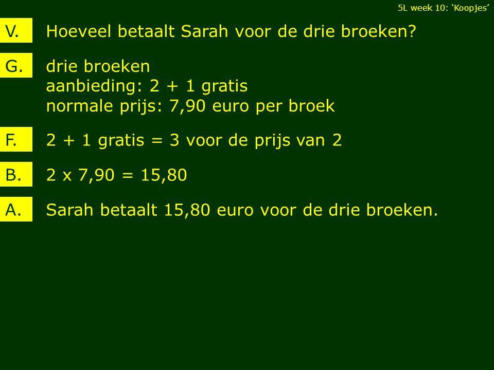 Hoeveel betaalt Sarah voor de drie broeken?V.