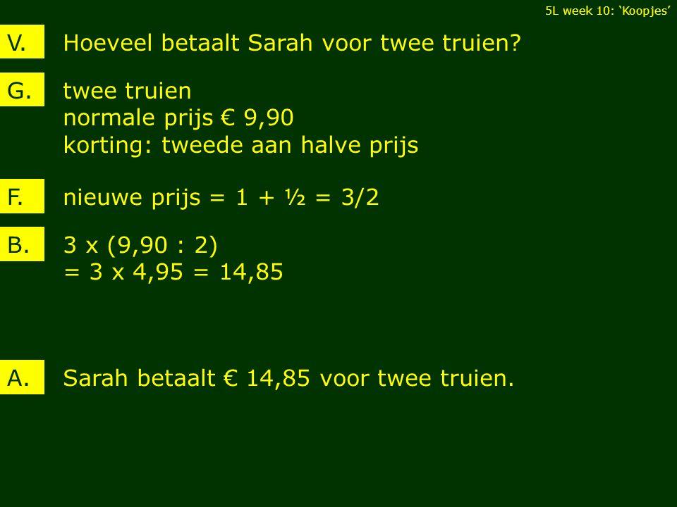 Hoeveel betaalt Sarah voor twee truien?V.