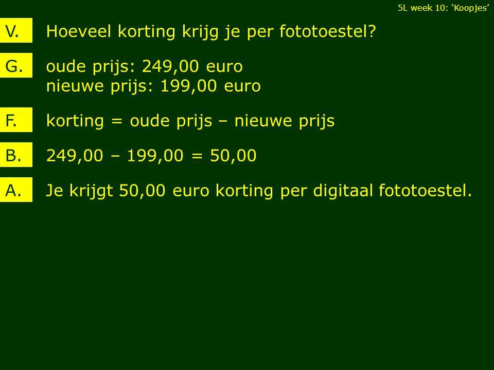 Hoeveel korting krijg je per fototoestel?V. oude prijs: 249,00 euro nieuwe prijs: 199,00 euro G. 249,00 – 199,00 = 50,00B. korting = oude prijs – nieu