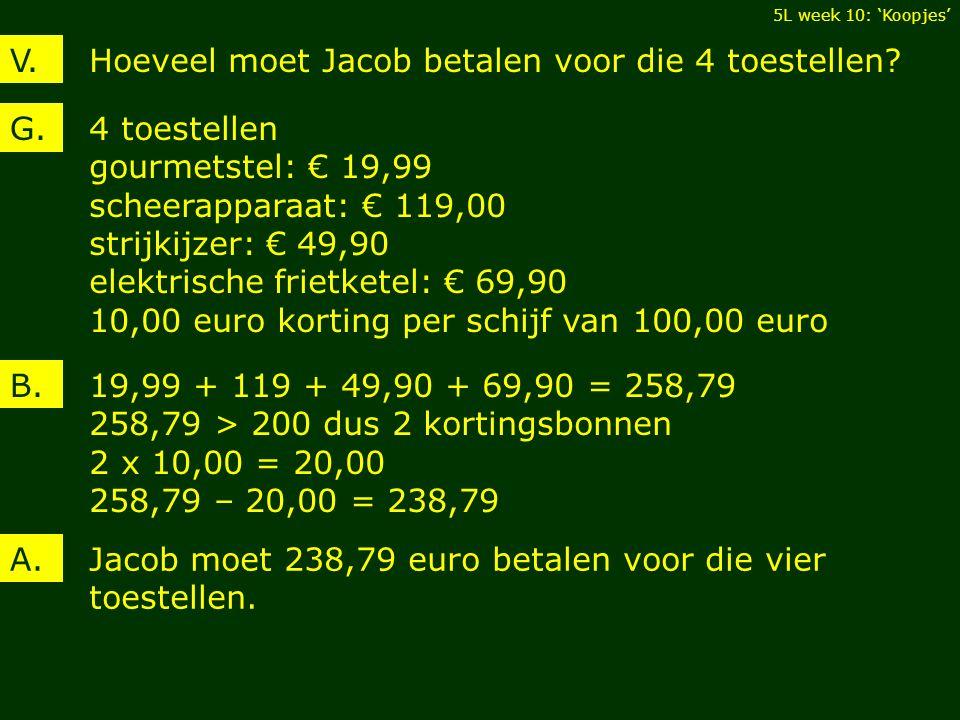Hoeveel moet Jacob betalen voor die 4 toestellen V.