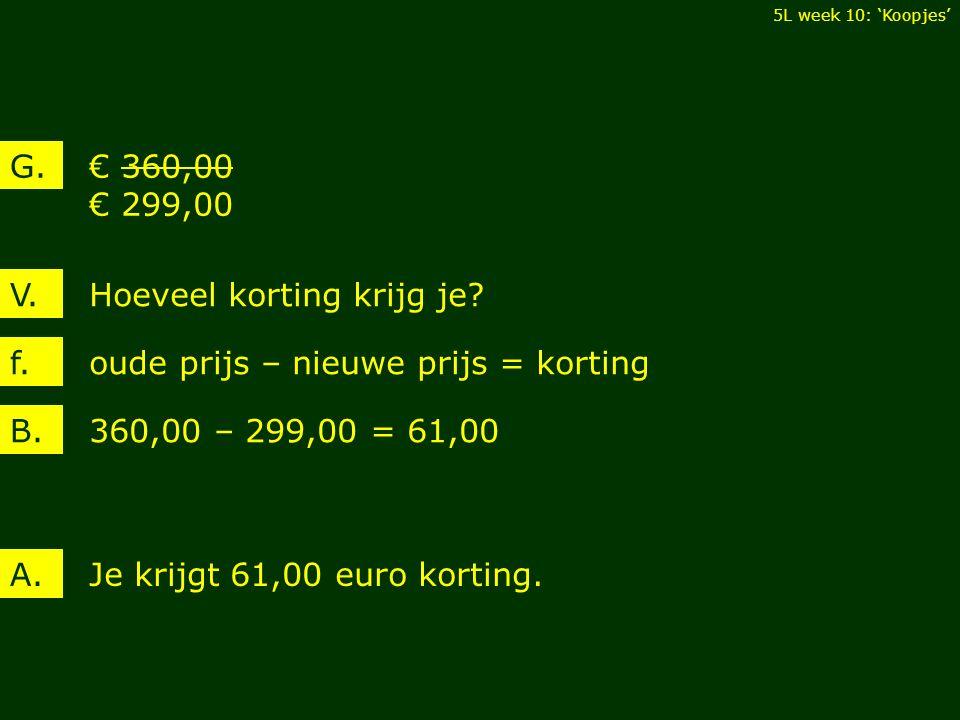 € 360,00 € 299,00 G. Hoeveel korting krijg je?V. 360,00 – 299,00 = 61,00B.