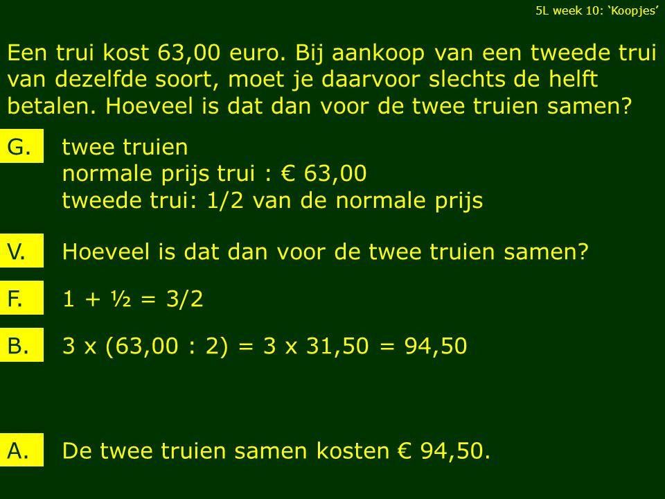 Een trui kost 63,00 euro.