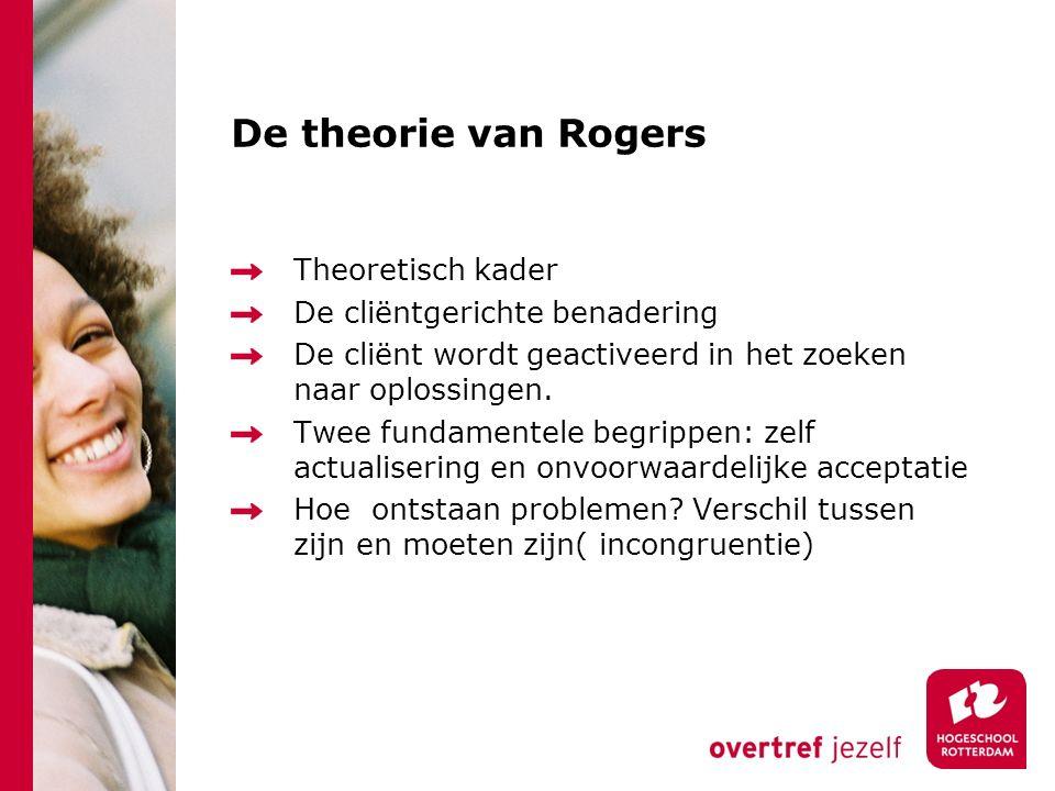 De theorie van Rogers Theoretisch kader De cliëntgerichte benadering De cliënt wordt geactiveerd in het zoeken naar oplossingen. Twee fundamentele beg