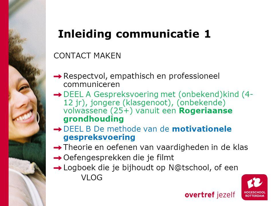 Inleiding communicatie 1 CONTACT MAKEN Respectvol, empathisch en professioneel communiceren DEEL A Gespreksvoering met (onbekend)kind (4- 12 jr), jong