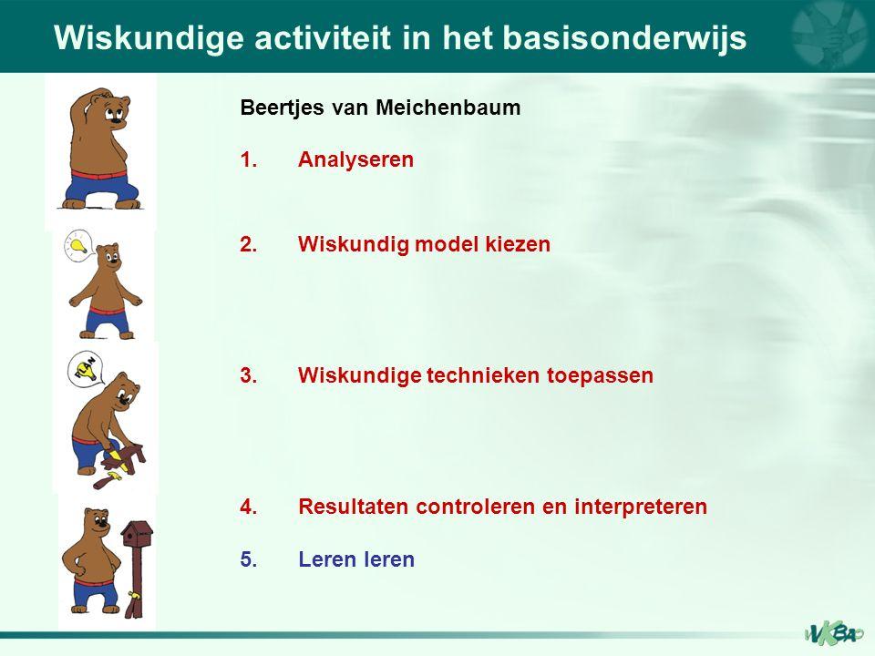 Wiskundige activiteit in het basisonderwijs Beertjes van Meichenbaum 1.Analyseren 2.Wiskundig model kiezen 3.Wiskundige technieken toepassen 4.Resultaten controleren en interpreteren 5.Leren leren