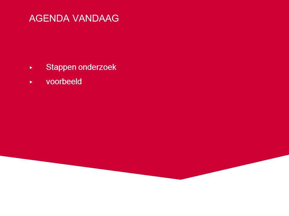 AGENDA VANDAAG ▸ Stappen onderzoek ▸ voorbeeld