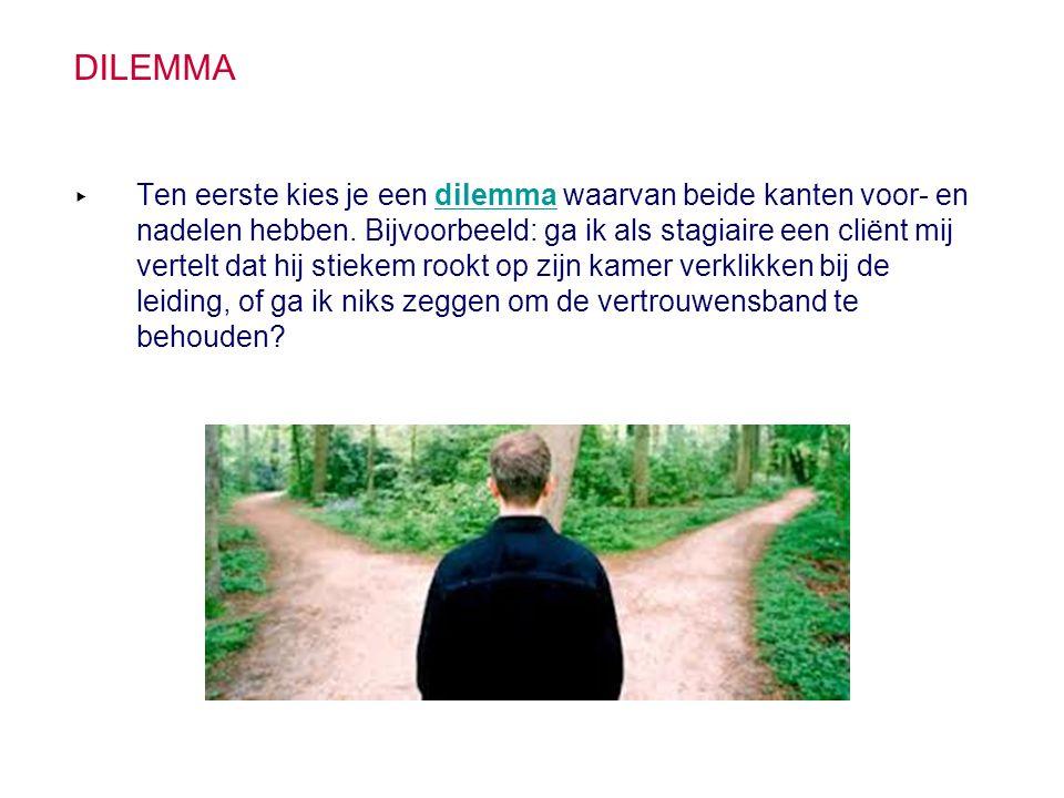 DILEMMA ▸ Ten eerste kies je een dilemma waarvan beide kanten voor- en nadelen hebben. Bijvoorbeeld: ga ik als stagiaire een cliënt mij vertelt dat hi