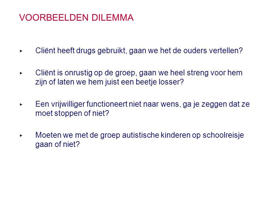 VOORBEELDEN DILEMMA ▸ Cliënt heeft drugs gebruikt, gaan we het de ouders vertellen? ▸ Cliënt is onrustig op de groep, gaan we heel streng voor hem zij