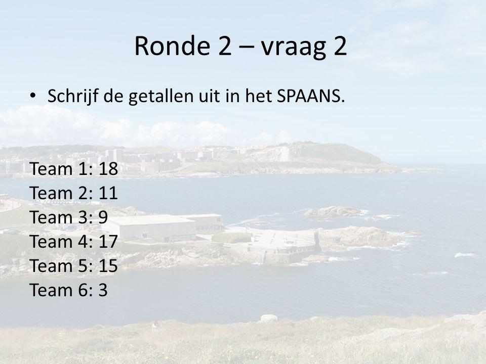 Ronde 2 – vraag 2 Schrijf de getallen uit in het SPAANS.