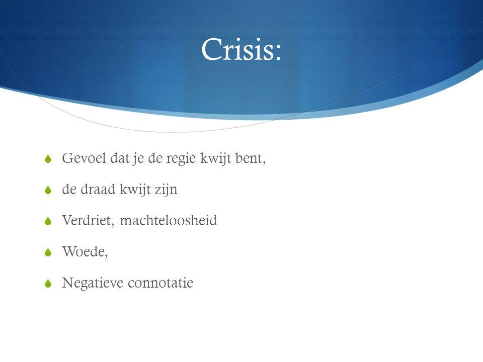 Crisis:  Gevoel dat je de regie kwijt bent,  de draad kwijt zijn  Verdriet, machteloosheid  Woede,  Negatieve connotatie