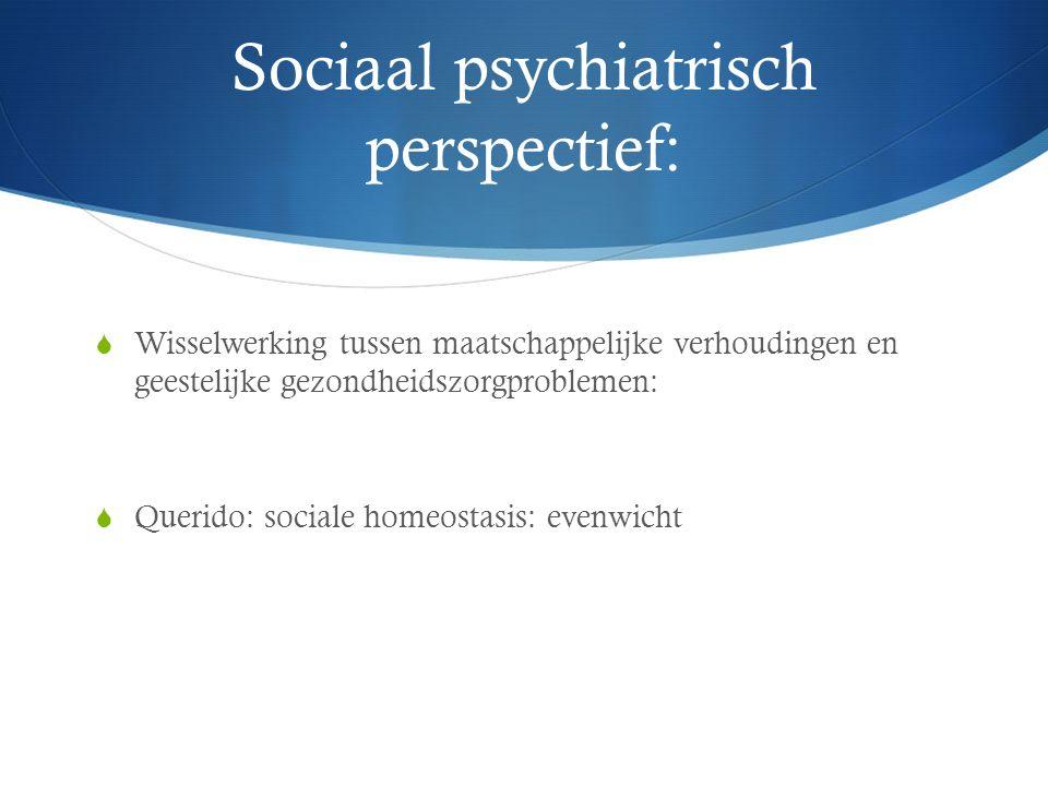 Sociaal psychiatrisch perspectief:  Wisselwerking tussen maatschappelijke verhoudingen en geestelijke gezondheidszorgproblemen:  Querido: sociale homeostasis: evenwicht
