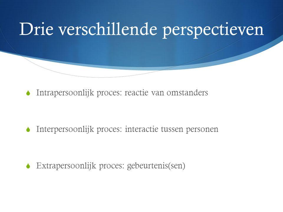 Drie verschillende perspectieven  Intrapersoonlijk proces: reactie van omstanders  Interpersoonlijk proces: interactie tussen personen  Extrapersoonlijk proces: gebeurtenis(sen)