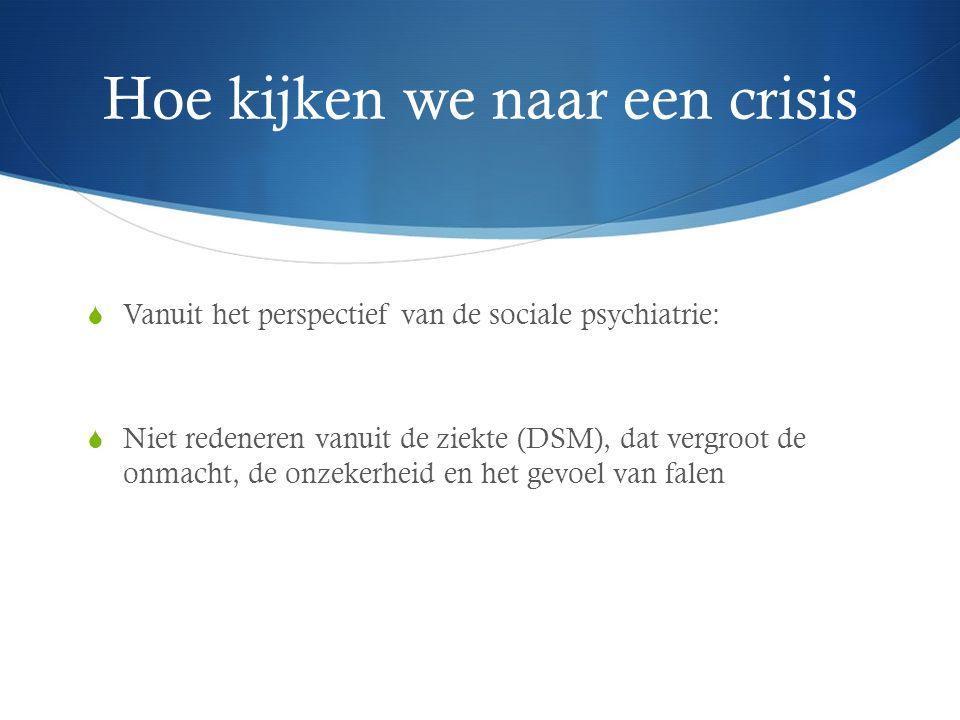 Hoe kijken we naar een crisis  Vanuit het perspectief van de sociale psychiatrie:  Niet redeneren vanuit de ziekte (DSM), dat vergroot de onmacht, de onzekerheid en het gevoel van falen