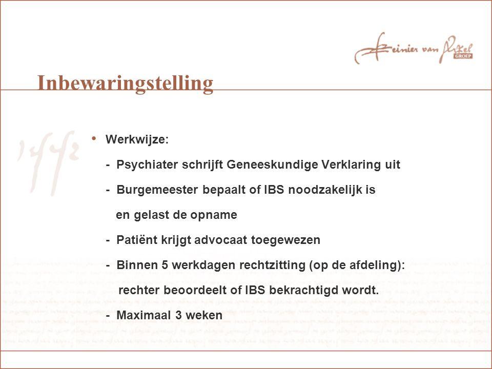 Voorlopige machtiging (nieuwe RM ) Voorwaarden: - Geestesstoornis veroorzaakt gevaar (causaal verband) - Gevaar kan worden afgewend door opname in psychiatrisch ziekenhuis - Geen bereidheid tot vrijwillige opname
