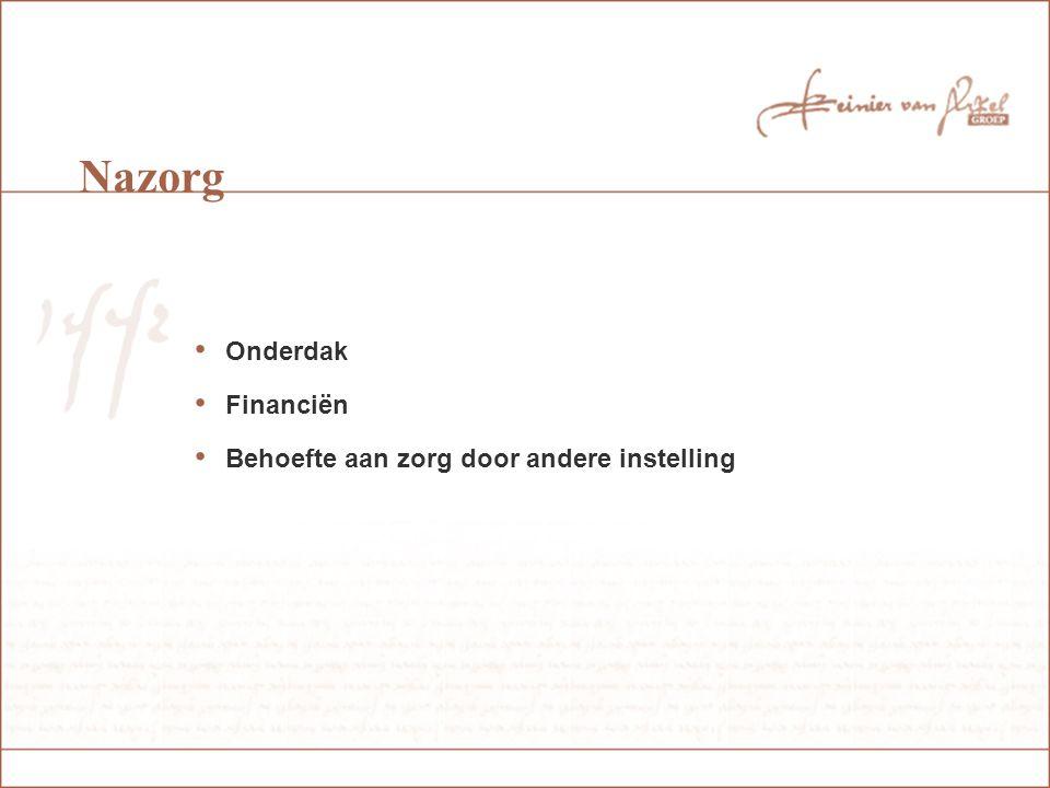 Nazorg Onderdak Financiën Behoefte aan zorg door andere instelling