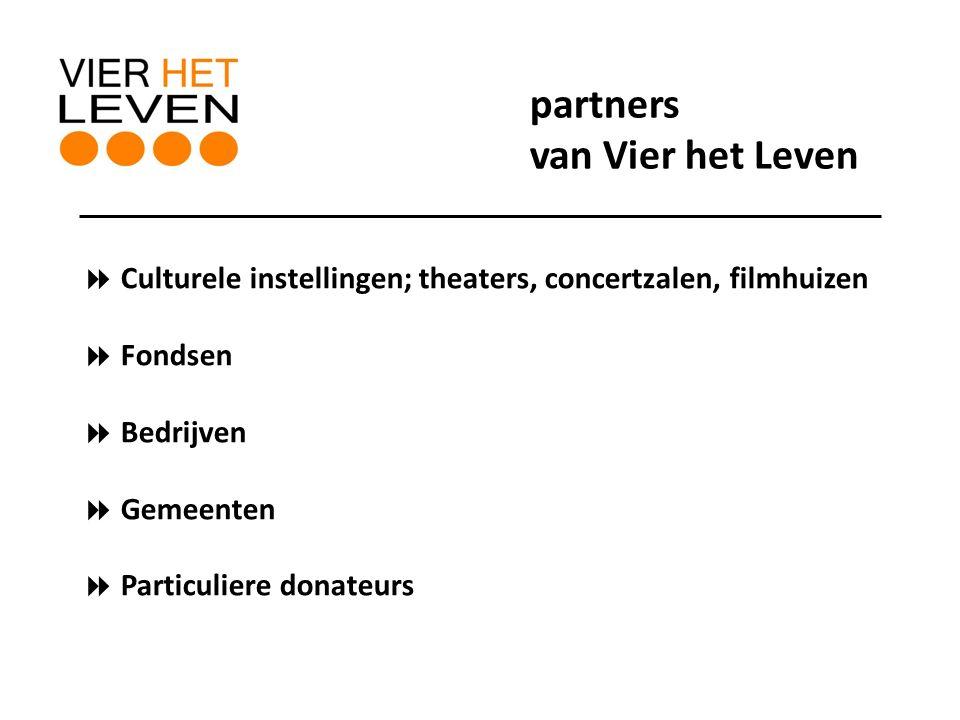  Culturele instellingen; theaters, concertzalen, filmhuizen  Fondsen  Bedrijven  Gemeenten  Particuliere donateurs partners van Vier het Leven