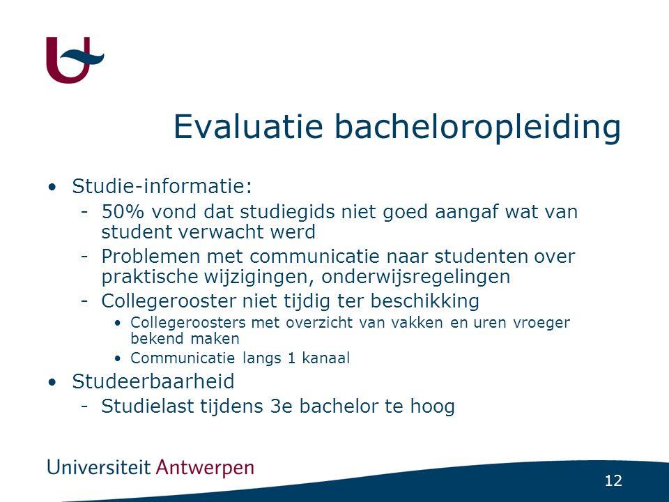 12 Evaluatie bacheloropleiding Studie-informatie: -50% vond dat studiegids niet goed aangaf wat van student verwacht werd -Problemen met communicatie