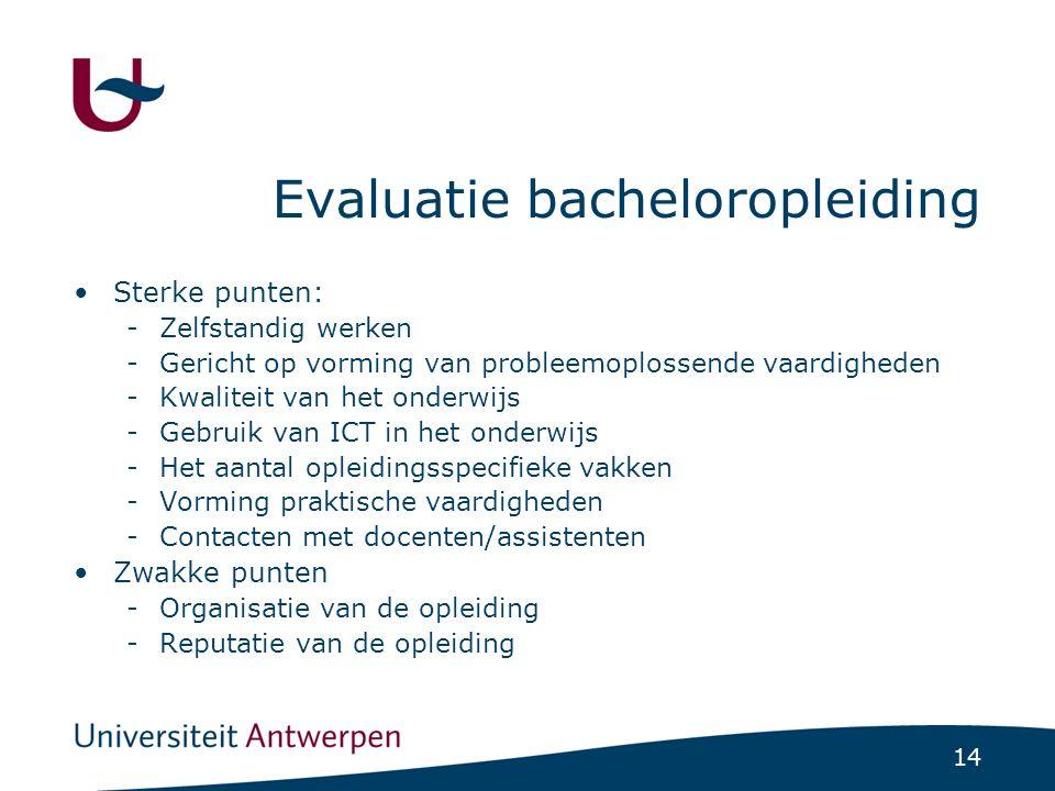 14 Evaluatie bacheloropleiding Sterke punten: -Zelfstandig werken -Gericht op vorming van probleemoplossende vaardigheden -Kwaliteit van het onderwijs