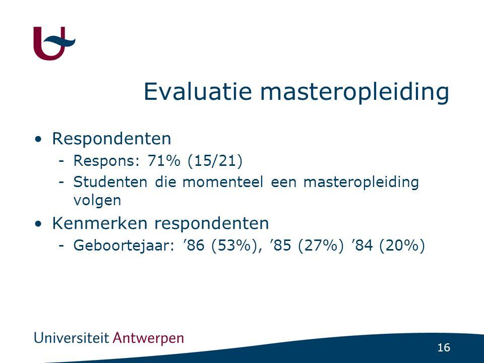 16 Evaluatie masteropleiding Respondenten -Respons: 71% (15/21) -Studenten die momenteel een masteropleiding volgen Kenmerken respondenten -Geboortejaar: '86 (53%), '85 (27%) '84 (20%)