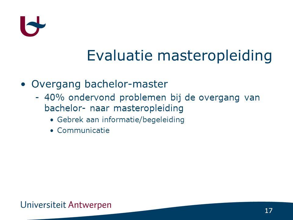 17 Evaluatie masteropleiding Overgang bachelor-master -40% ondervond problemen bij de overgang van bachelor- naar masteropleiding Gebrek aan informati