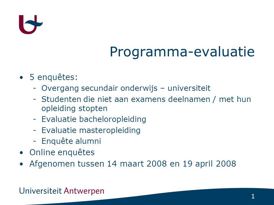1 Programma-evaluatie 5 enquêtes: -Overgang secundair onderwijs – universiteit -Studenten die niet aan examens deelnamen / met hun opleiding stopten -