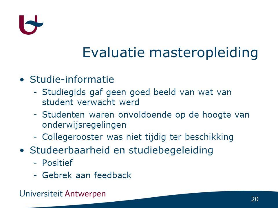 20 Evaluatie masteropleiding Studie-informatie -Studiegids gaf geen goed beeld van wat van student verwacht werd -Studenten waren onvoldoende op de ho