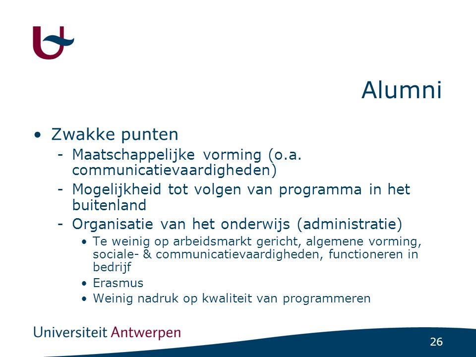 26 Alumni Zwakke punten -Maatschappelijke vorming (o.a. communicatievaardigheden) -Mogelijkheid tot volgen van programma in het buitenland -Organisati