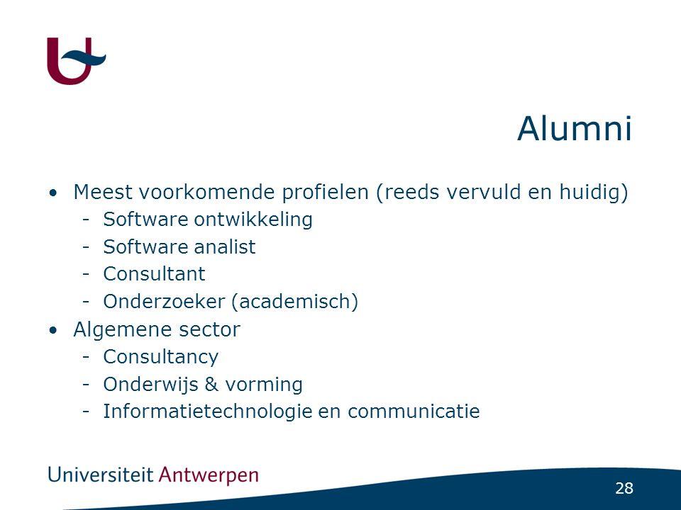 28 Alumni Meest voorkomende profielen (reeds vervuld en huidig) -Software ontwikkeling -Software analist -Consultant -Onderzoeker (academisch) Algemene sector -Consultancy -Onderwijs & vorming -Informatietechnologie en communicatie