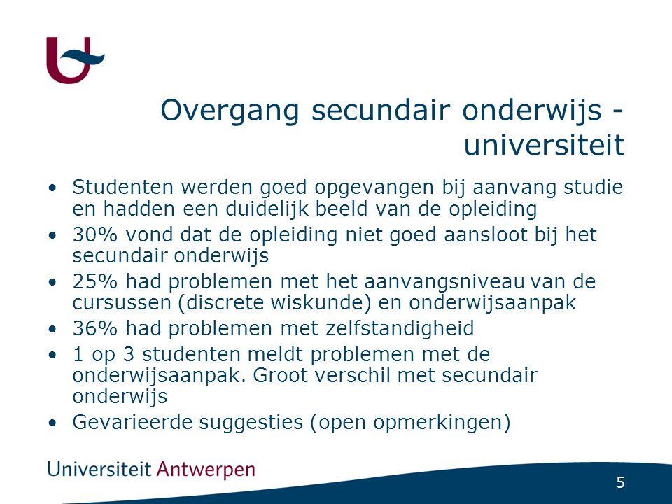5 Overgang secundair onderwijs - universiteit Studenten werden goed opgevangen bij aanvang studie en hadden een duidelijk beeld van de opleiding 30% v